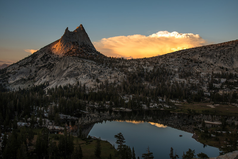 Cathedral Peak in the fading light.