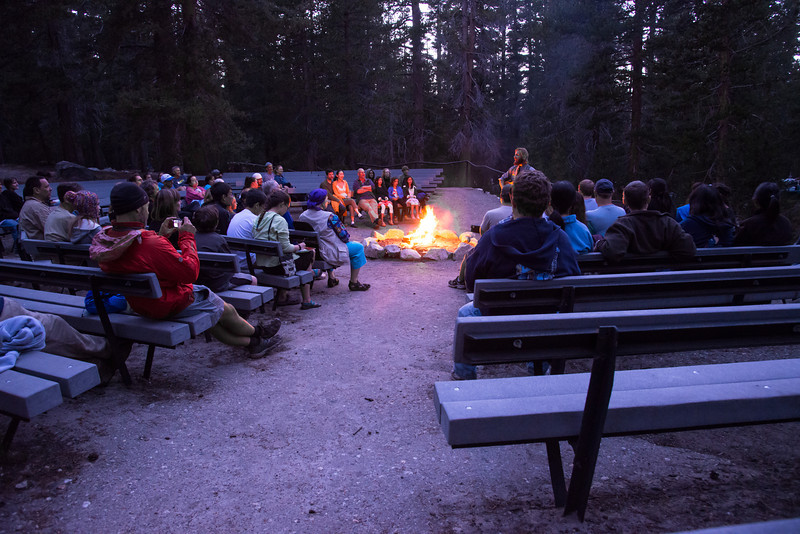 Later in the evening, I stopped by to listen to the Park Ranger at campfire chat. This was quite entertaining as he and the crowd (we) sang campfire songs and learned about the ecosystem of the park. An interesting factoid I found was that the Clark's nutcracker is responsible for all of the White Bark Pines and is the reason they grow at such high altitudes. The nutcracker harvests the pine seeds and stashes them away for winter. What he doesn't eat grows into new pine trees. The bird is the only means for the trees to disperse their seeds.