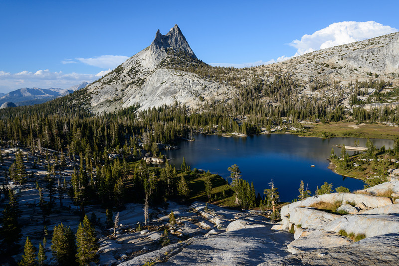 After setting up camp and having dinner, I climbed the southern side of the bowl to gain a grand view of Cathedral lake and Peak. I found a comfortable spot, set up my tripod and waited for the light to do it's magic!