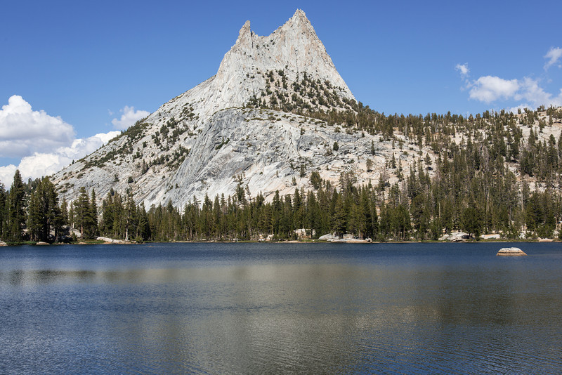 Cathedral Peak towering over Cathedral Lake. A beautiful spot to call it a day.