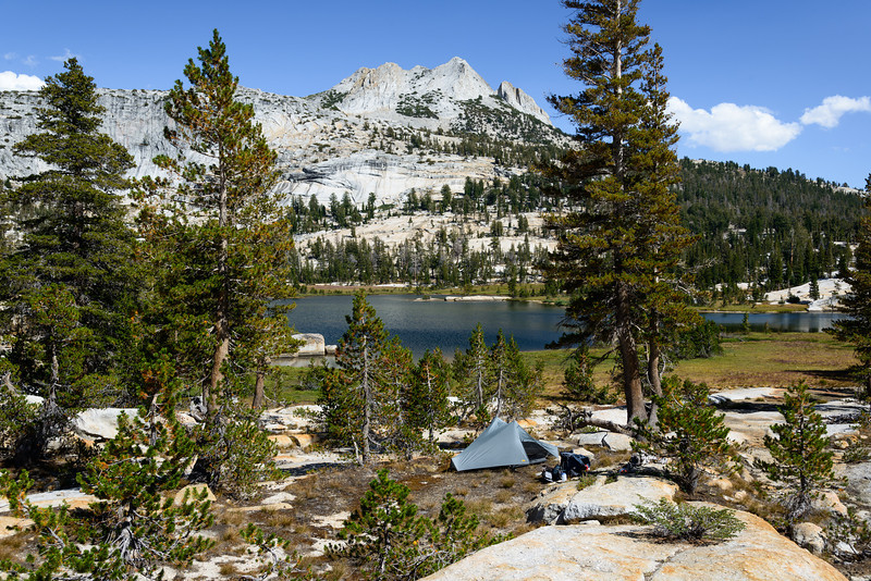 Camp at Cathedral Lake with Echo Peaks in the background.