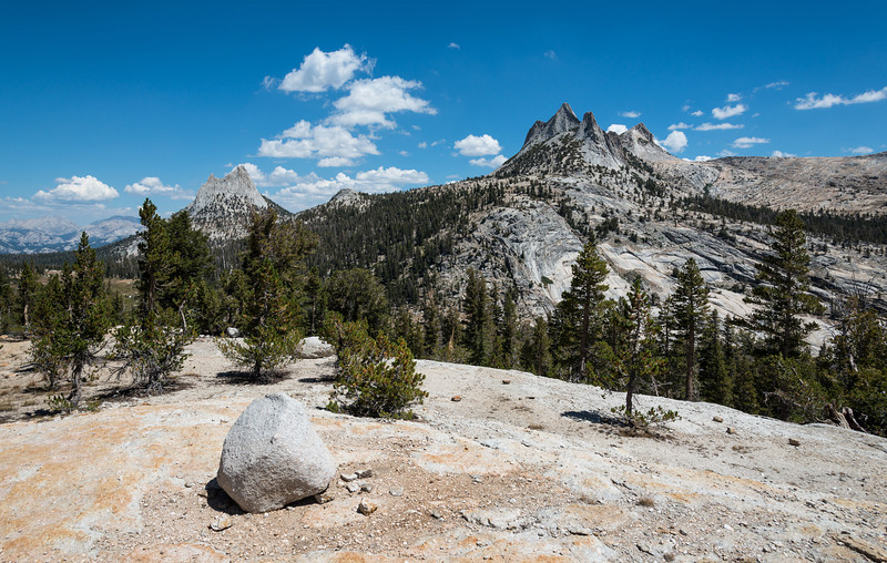 After what seemed like forever, I reached the top of the pass and was greeted by a magnificent view of Echo Peaks (right) and Cathedral Peak (left). With only another half mile or so to Cathedral Lake, this wound up being a short day mileage wise but wonderful day in the fact I was afforded plenty of time to explore and enjoy Cathedral Lake.