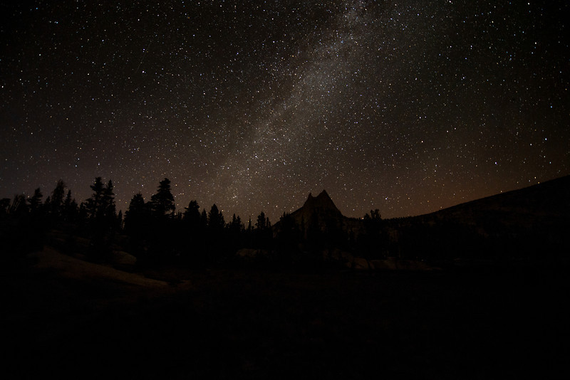 The night sky and a clearly visible Milky Way.