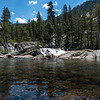 I left VVR and followed the Bear Creek Trail 7 miles back to the JMT. The normal route is to use the Bear Ridge Trail but I elected this slightly longer route in order to have water available the entire way. It was a beautiful trail to walk. This is a picture of Bear Creek.