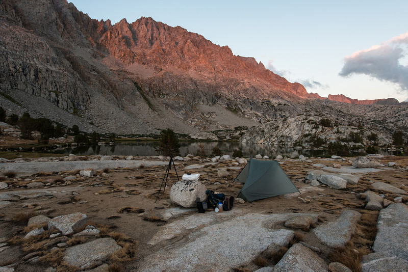 My camp under fading light. I finally got around to making dinner and afterwards sat out under the stars for a while. What a beautiful night it was and tomorrow held more lakes and the Muir Pass in store.