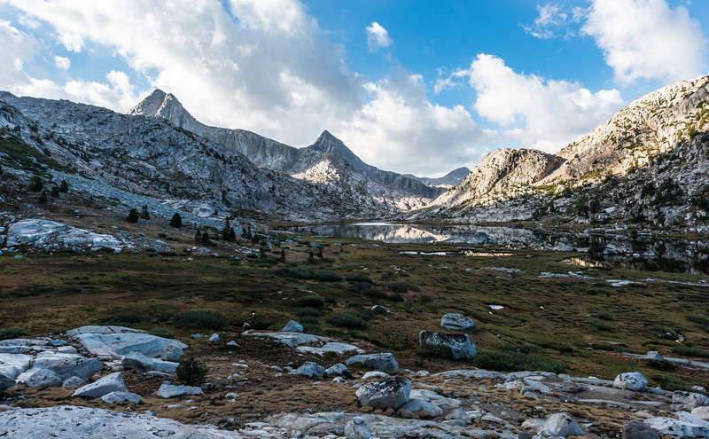 Next morning it was off to Muir Pass. The trail wrapped around the eastern shore of Evolution lake and then headed south.