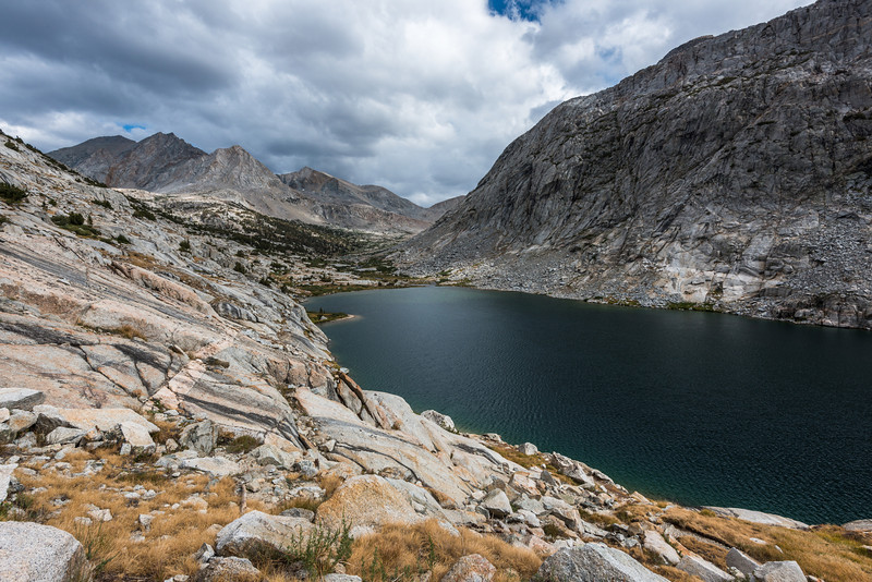 After a break, it was time to start walking towards the upper Palisades Lake where I'd make camp for the evening. If you look center picture the upper lake was located on on the shelf above the lower lake's shoreline.