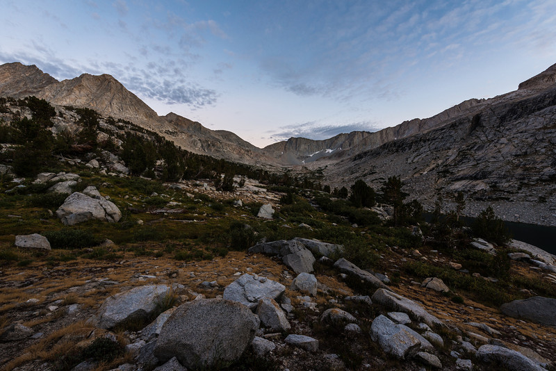 An evening at Palisades Lake. You can see the upper lake to the far right. Also, Mather Pass (tomorrow's climb) center picture.