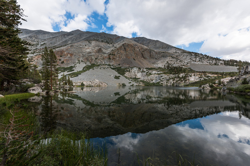 After Wood's Creek, the trail steadily climbed up and towards Glen Pass. On the way the first lake to pass was the smallish Dollar Lake. What it lacked in size it made up for in beauty. I loved this lake.