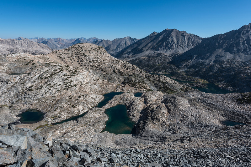 Another view looking off to the north. The lake to the far right is the upper most of the Rae Lakes.