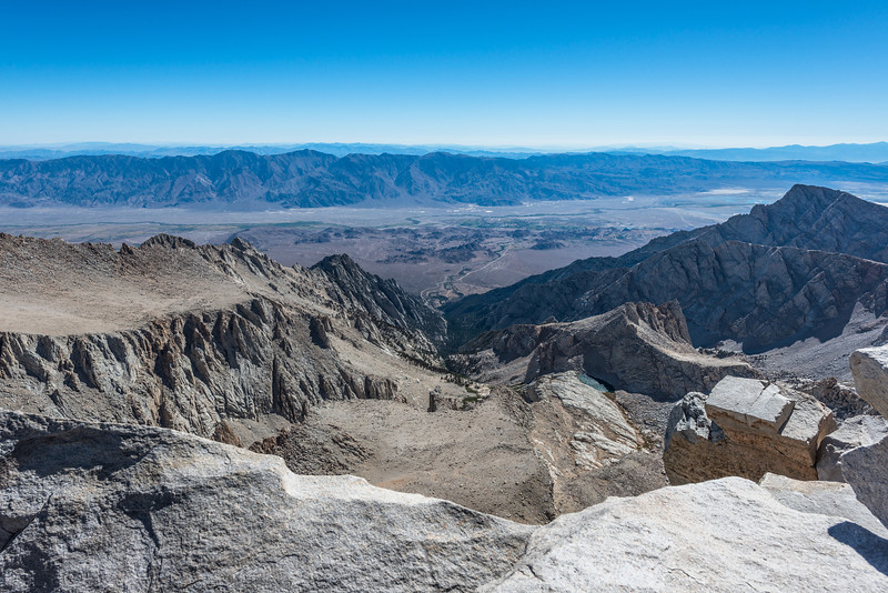 A view to the south. Lone Pine in the distance almost 11,000 feet below.