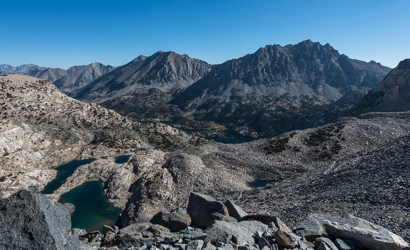 After leaving Rae Lakes, the trail climbed steadily  until finally reaching the top of Glen Pass. A view north back to Rae Lakes (center of picture)