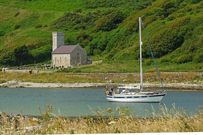 Yacht approaching Rathlin Island Harbour, Co Antrim