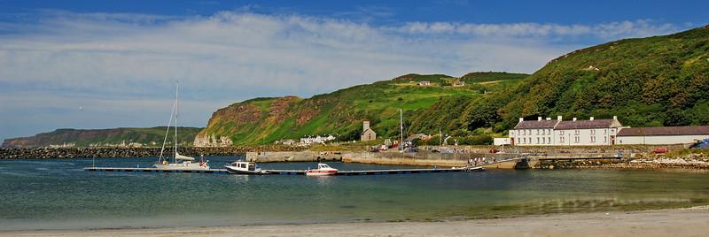 Panoramic view Rathlin Island Co Antrim Church Bay Harbour
