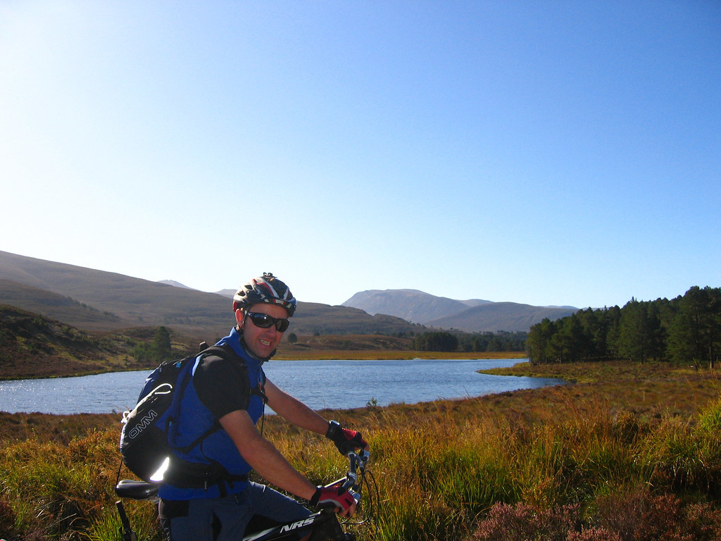 Day 3 - Sean taking in the views as we enter the Abernethy Forest - as ever in Scotland, shades essential!