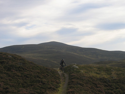 Day 2 - Classic Cairngorms singletrack with Culardoch in the background.