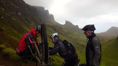 Day 3 and over the sea to Skye. The Quirang drainage bars claim their first victim.