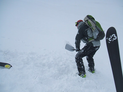Digging for the burried avalanche transciever. Fortunately not in a real avalanche.