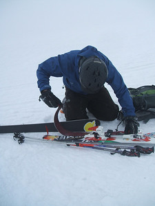 Skins off ready for the ski down, Cairn Lochan