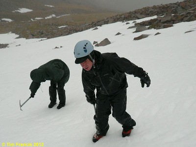 Kicking & cutting steps in Corie Leis, TNF, Ben Nevis.