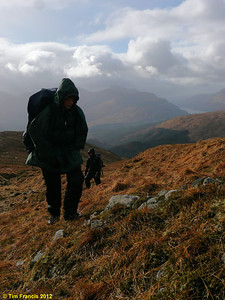 On the way up Braigh nan Uamhachan with loch Sheil in the background.