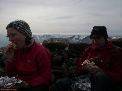 Lunch in the March sun on top of Ben Macdui.