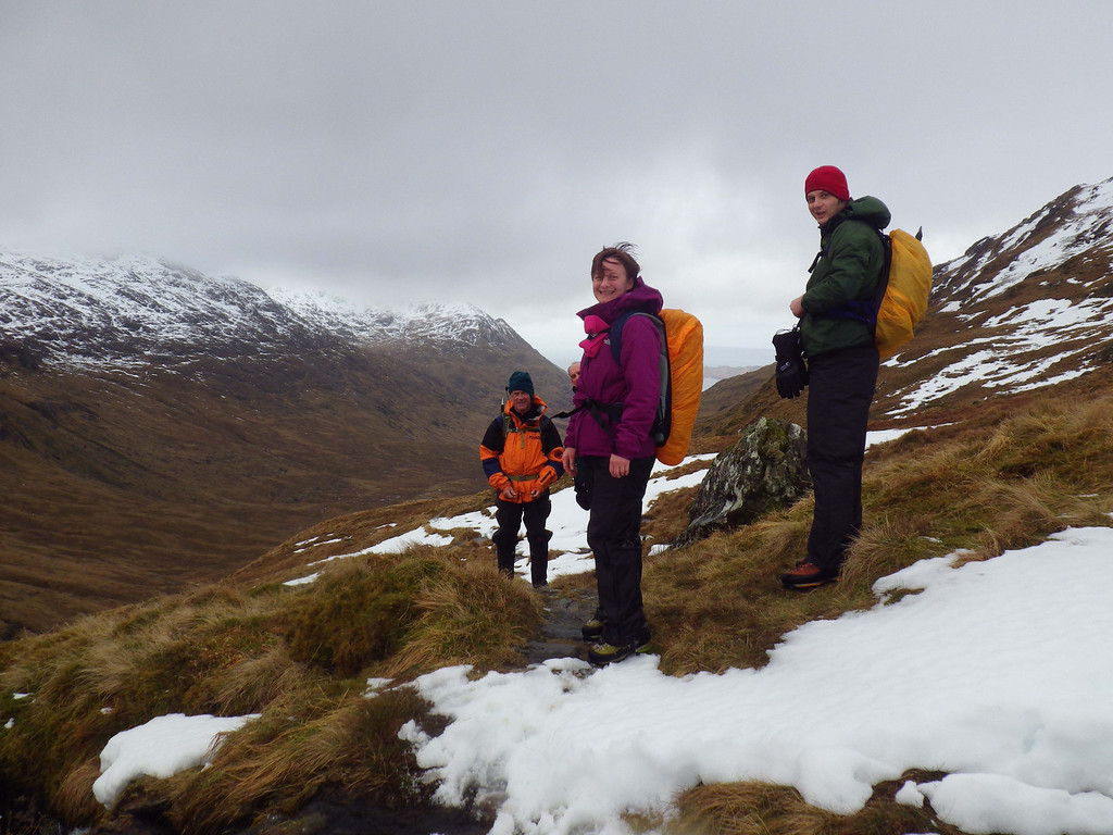 D1 Escaping the winds we managed to find views and snow at Mam Meadail.