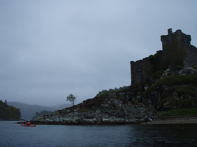 An atmospheric day for paddling round Castle Tioram