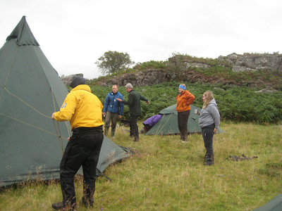 Some head scratching the first time the Tipi went up, just ahead of the midges!!