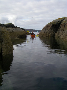 Paddling through narrows into Loch Diabaig