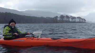 Happy Sheena on Loch Maree