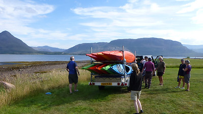 Day one taking kayaks off the trailer