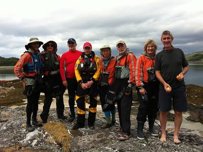Team photo at the lunch spot at Eilean na Gualainn, Loich Ailort  That was a real otter Kate!!