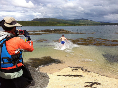 Neal testing the waters for the team swim,  Arisaig