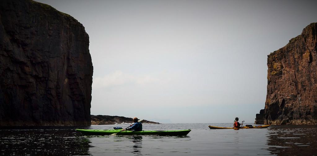calm under the steep cliffs