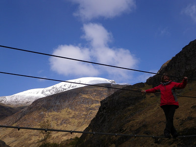 Beryl trying her hand at the infamous crossing with Ben Nevis above