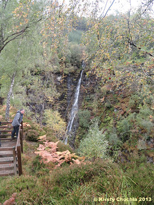 Admiring the many waterfalls at Corrieshalloch Gorge