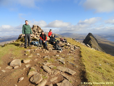 """We made it!"" The summit of Suilven with spectacular views all around"