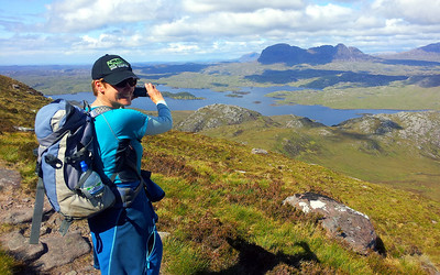 Glynis on Stac Poll looking toward Suilven.