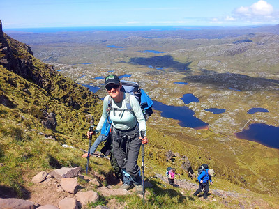 Glynis approaching the summt ridge of Suilven.