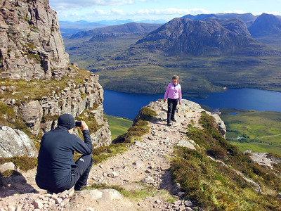 Richard and Alison on Stac Polly, Coigach in the background.
