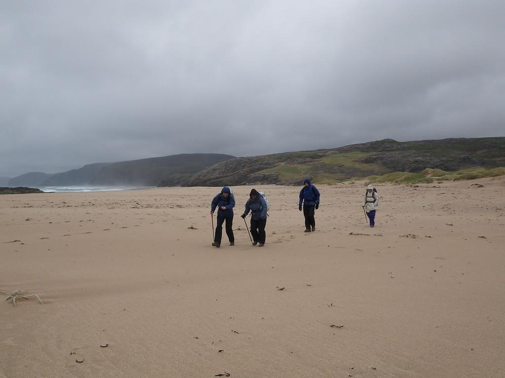 The intrepid explorers at Sandwood.