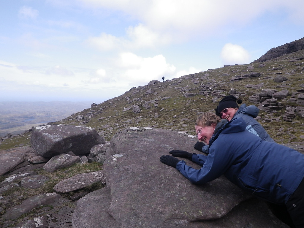 Braving the wind to enjoy the spectacular views from Quinag