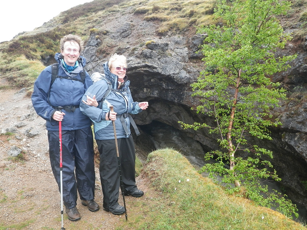 Sue & Helen looking for trolls at the Traligill caves.