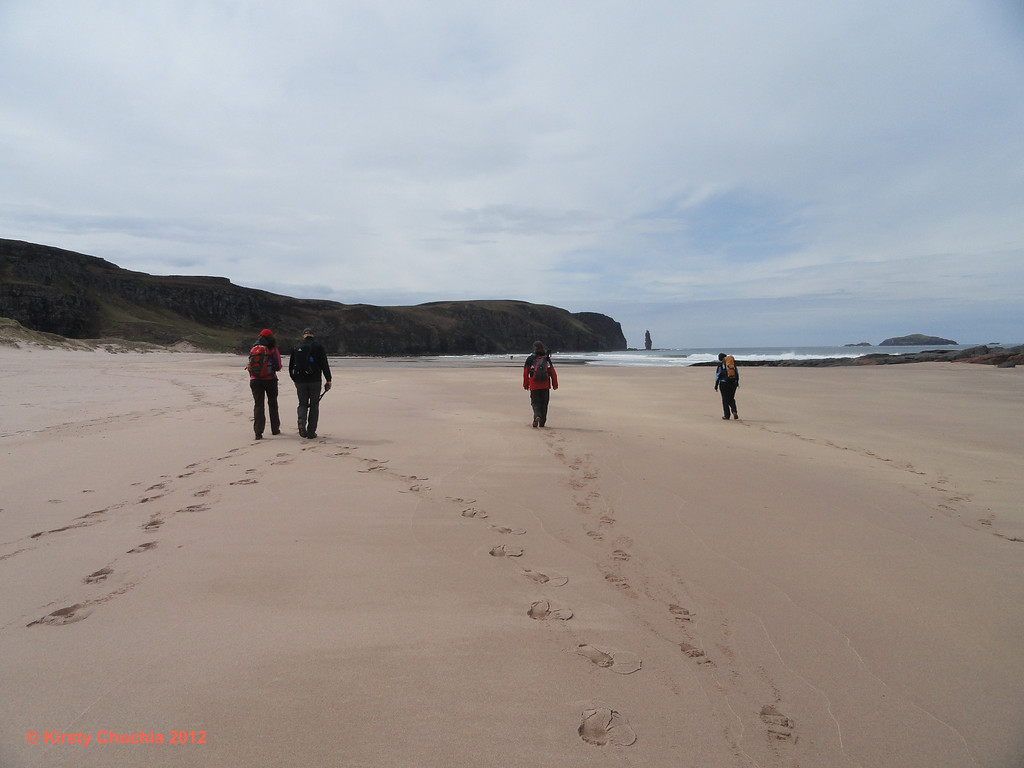 Walking on the golden sands of Sandwood Bay
