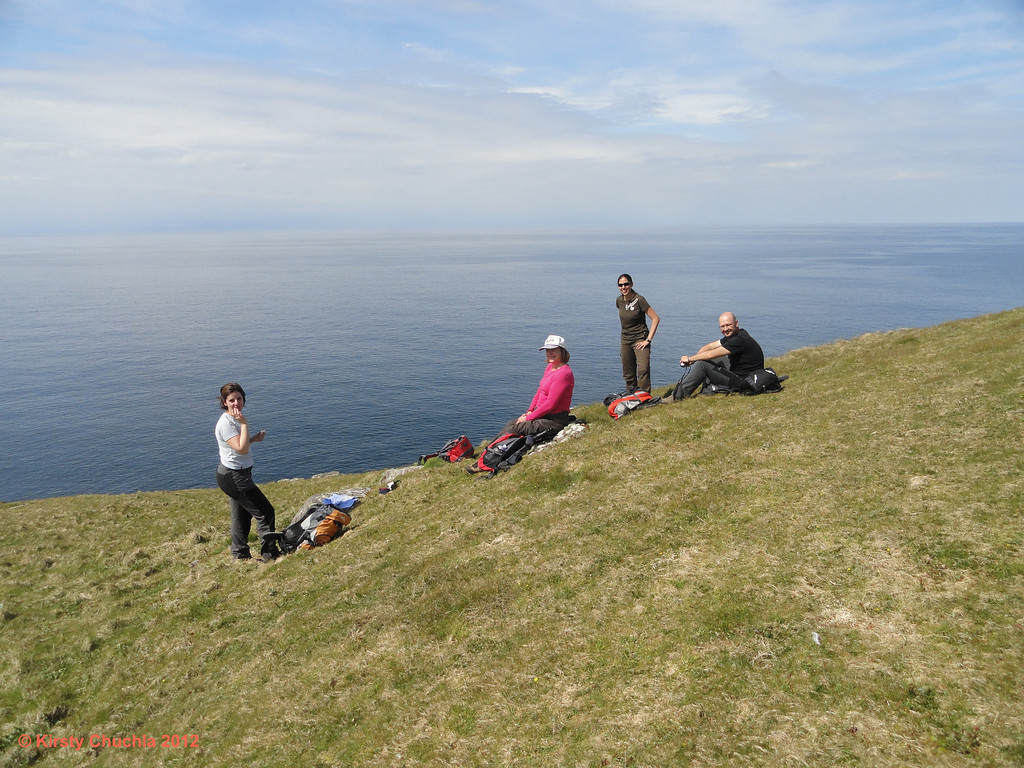 Enjoying the sunshine during our lunch break on Handa Island...great view point for Minke Whales!