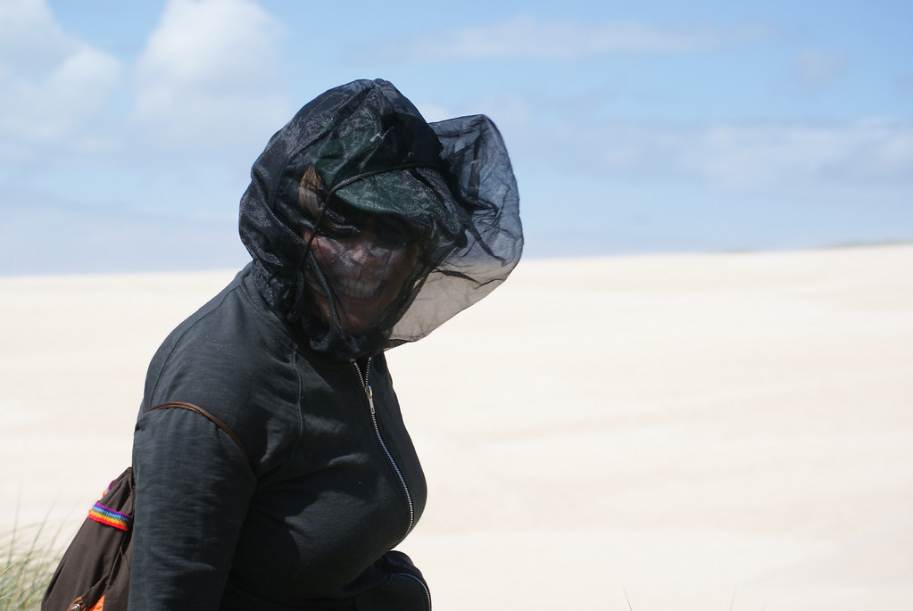 Protecting myself in a mosquito head net against the stinging sands