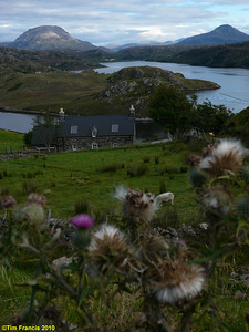 Arkle & Ben Stack looking along Loch Inchard.