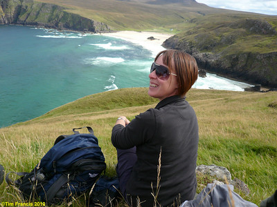Michele enjoys her birthday having lunch in the sun above Kervaig, Cape Wrath.