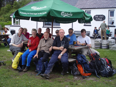 The group recharging at The Old Forge.